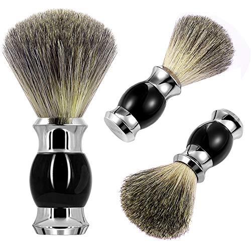 GRUTTI Rasierpinsel 100% Reines Dachshaar Metallgriff Rasierpinsel für Männer (Schwarz) für Nassrasur-MEHRWEG