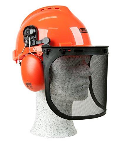 Kopfschutz / Schutzhelmkombination Yukon , stoßfester und atmungsaktiver PP – Helm, bequemer Gehörschutz, breites und robuste Netzvisier aus Edelstahl für den Augenschutz , SNR-Wert: 25,9 dB