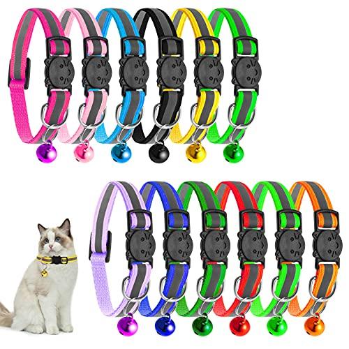 tonyg-p Katzenhalsband Reflektierendes 12 Stück Verstellbar Katzenhalsbänder mit Glocke und Sicherheitsverschluss 19-32cm für alle Hauskatzen
