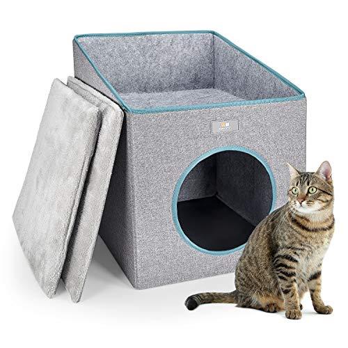 PUPPY KITTY Faltbare Katzenhöhle mit Terrasse, Kuschelhöhle für Katze & Hunde mit Super Weichem Innerkissen Outdoor Winterfest Katzenhaus katzenbett zum schlafen für Katzen & Welpen, 37*36*49CM, Grau