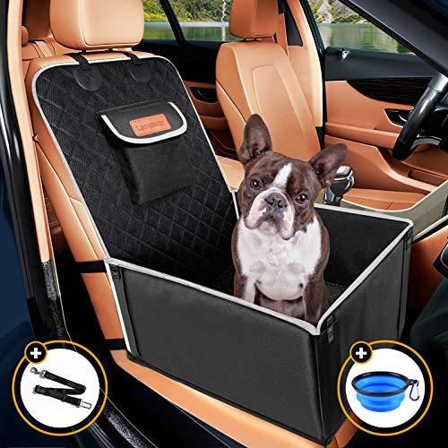 Looxmeer Hunde Autositz für Kleine Mittlere Hunde, Vordersitz & Rückbank Hundesitz Auto mit Sicherheitsgurt und Verstärkter Wände, Wasserdicht & Reißfest, Hundedecke Autosittzbezug für Autoschutz Grau