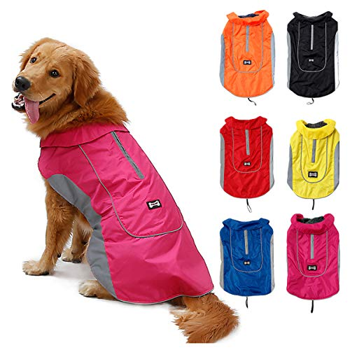 TFENG Reflektierend Hundejacke Brust 34-42cm, Rückenlänge 27cm Wasserdicht Hundemantel Warm gepolstert Puffer Weste Welpen Regenmantel mit Fleece (Größe XS, Rosa)