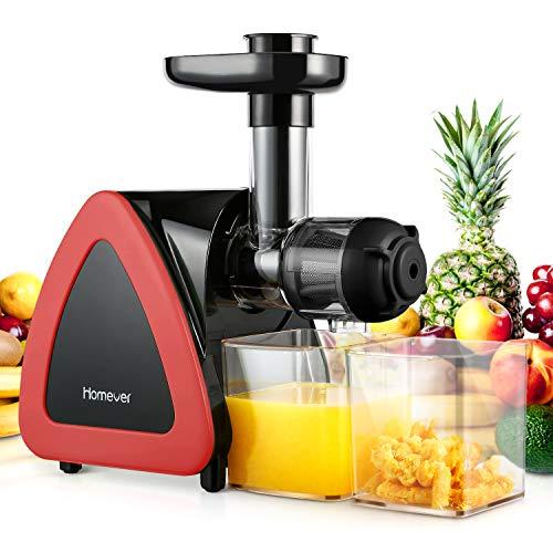 Homever Entsafter Slow Juicer, Entsafter für Obst und Gemüse, Leiser Motor, Umkehrfunktion, leicht zu reinigen, nährstoffreiche Kaltpresse Entsafter mit Saftbecher und Bürste, BPA-frei