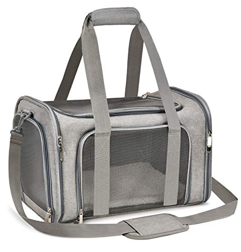 Qlf yuu Transporttasche für Katze Hund, Faltbare Tragebox für Mittel Kleine Haustiere im Flugzeug, Transportbox für Haustiere Mittel Kleine Hund Katze, 15lbs Katzen Hunde Tragebox(Grau, Medium)