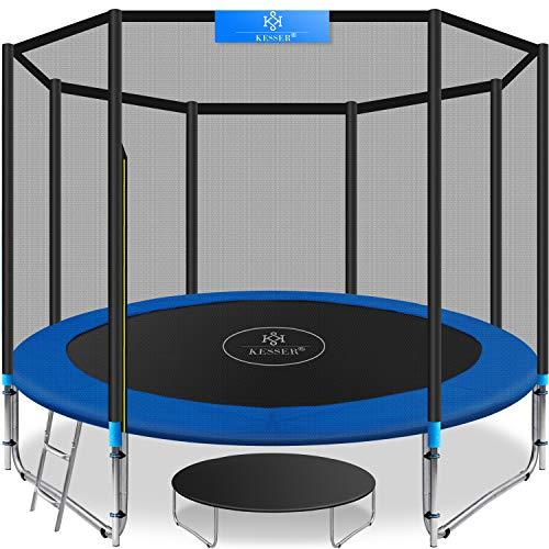 Kesser® - Trampolin Ø 244 cm | TÜV SÜD GS Zertifiziert | Komplettset mit Sicherheitsnetz, Leiter, Randabdeckung & Zubehör | Kindertrampolin Gartentrampolin Belastbarkeit 150 kg