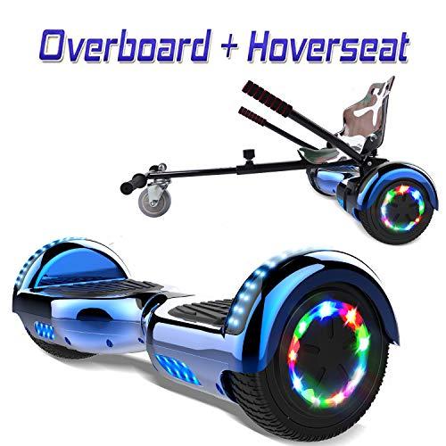 COLORWAY 6,5 Zoll Hover Scooter Board Elektro Skateboard Elektro Scooter Smart Self Balance Board - Bluetooth - LED Räder - 350W*2 Motor + Hoverkart (Blau+Kart)