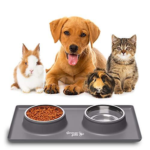 Futternapf Fressnapf mit Silikon Unterlage Katzennapf Hundenapf Set für kleine Hunde und Katzen   Rutschfest und Wasserdicht   2x 400 ml Edelstahlschüsseln Fressnapfunterlage mit Rand