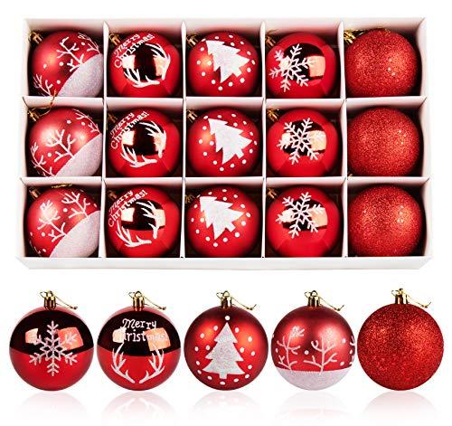 Adorfine 15 Stück Weihnachtskugeln Ornamente Christbaumkugeln aus Bruchsicherem Kunststoff Weihnachtsbaum Anhänger Ballkugel für Weihnachten Hochzeitsfest Dekoration(Rot,Ø 8cm)