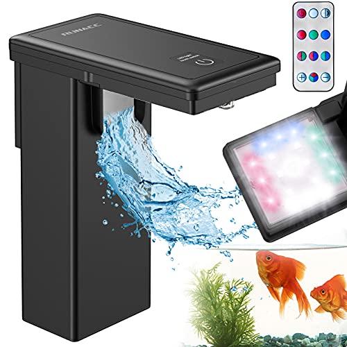RUNACC Aquarium Led Beleuchtung mit Filter - IPX8 Wasserdicht Aquarium Lampe 2-in-1 Aquarium Filterpumpe 4 Modes & 4 Colors Simulierte Umgebung mit Fernbedienung Aquarium Beleuchtung für Aquarium