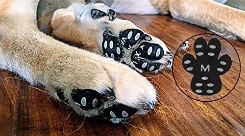 YAODHAOD Hundepfotenschutz, 24 Stück, robuste Anti-Rutsch-Pads, selbstklebende Einweg-Hundepfoten, Hundeschuhe, Stiefelsocken (XL, schwarz)