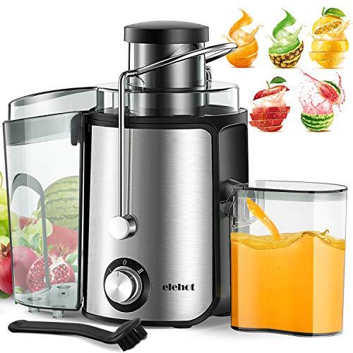Entsafter für Obst und Gemüse Juicer 600W 2 Geschwindigkeiten 65mm Einfüllöffnungen Zentrifugal Überhitzungsschutz und Überlastschutz von ELEHOT - Verpackung MEHRWEG (Silver)