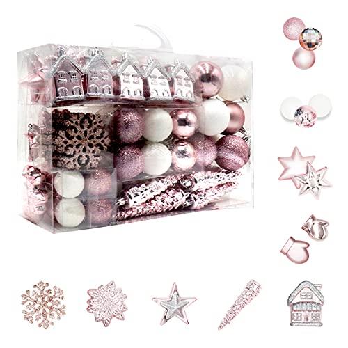 113 Stück Christbaumkugeln Set Weihnachtskugeln aus Kunststoff Rosa und Weiß Baumschmuck Weihnachtsbaum Deko & Christbaumschmuck in unterschiedlichen Größen und Designs Rosa und Weiß