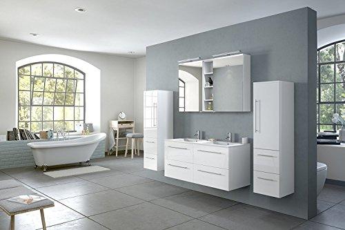 SAM® Badmöbel-Set Villa 4-TLG, Hochglanz weiß, Softclose Badezimmermöbel, Doppelwaschplatz 120 cm Mineralgussbecken, Spiegelschrank, Zwei Hochschränke