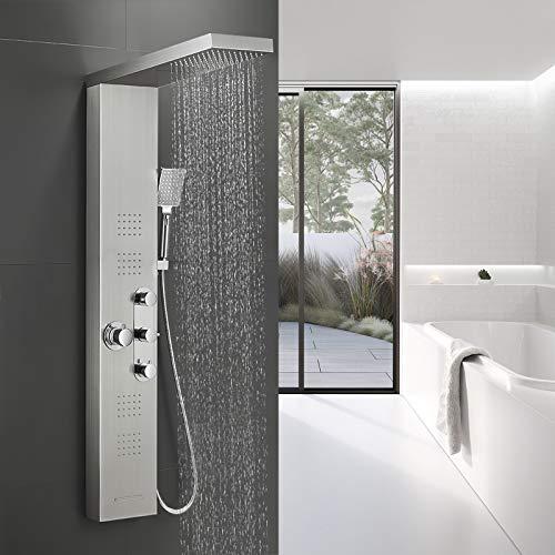BONADE Duschpaneel Thermostat Duscharmatur aus Edelstahl 304 Funktional Duschsystem Luxus Duschgarnitur mit Regendusche, Wasserfalldusche, Massagendüsen, Handbrause und Wannenauslauf für Badezimmer