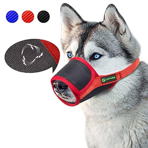 ILEPARK Beehive Maulkorb Mesh Einstellbar Nylon für meistens Hunde vom Beisen, Bellen und Kauen abzuhalten (S,Rot)