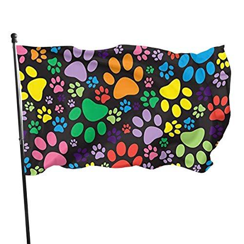 Lauue Hundepfotenschutz-Flagge, bunt, 3 x 1,5 m, lebendige Farbe für den Innen- und Außenbereich, UV-geschützt, Banner-Flaggen
