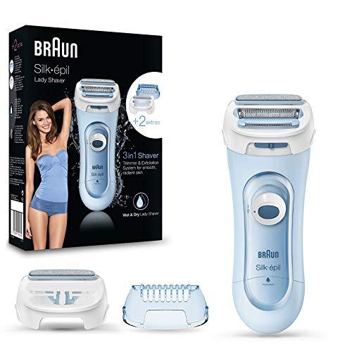 Braun Silk-epil Lady Shaver 5-160 3-In-1 Kabelloser Wet&Dry Elektrischer Damenrasierer, Trimmer- und Peeling-System, blau
