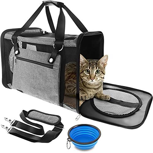 Anykuu Faltbare Hundetragetasche Katzentragetasche Atmungsaktive Transporttasche Katzen(47 * 27 * 28cm) mit Verstellbarem Schultergurt Stoff Oxford mit Fleece Matte für Transport mit Flugzeug