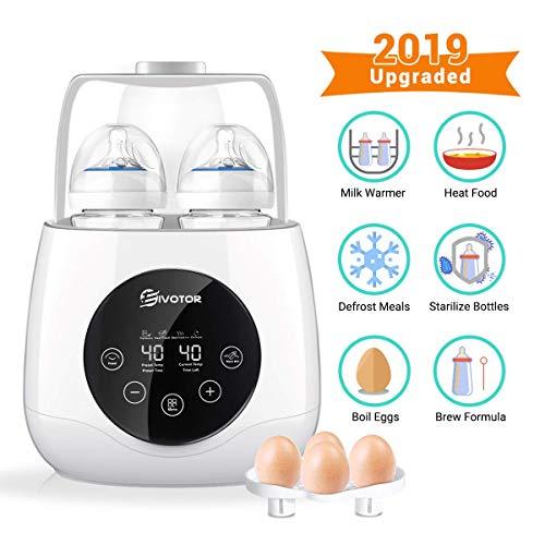 EIVOTOR 6 in 1 Flaschenwärmer Baby Bottle Warmer Babykostwärmer Doppelt Dampfsterilisator Flaschen Sterilisator Milchwärmer mit Timer, Warmhaltefunktion, Auftauen für Babyflaschen und Schnuller