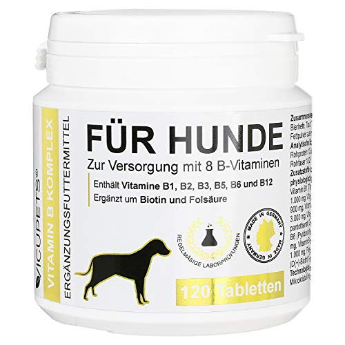 Vicupets Vitamin B Komplex für Hunde   8 B-Vitamine und Mineralstoffe   für alte (Senior) Hunde und Junge (junior) Welpen   Made in Germany   120 Stück