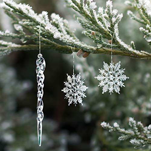Naler 30-teilig Schneeflocken Eiszapfen Weihnachtsdeko Christbaumschmuck aus Acryl für Weihnachten Winter Dekoration
