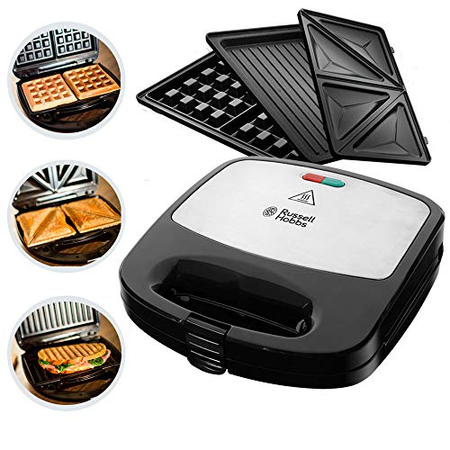 Russell Hobbs Multifunktionsgerät 3-in-1 Fiesta (Sandwich Maker, Waffeleisen, Kontaktgrill), spülmaschinengeeignete & antihaftbeschichtete Platten (erweiterbar: Cake Pop, Mini Donut, Churro), 24540-56