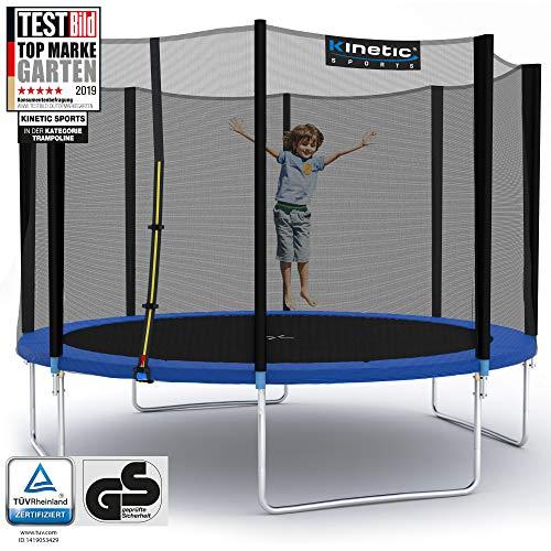 Kinetic Sports Outdoor Gartentrampolin Ø 310 cm, TPLH10, Komplettset inklusive Sprungtuch aus USA PP-Mesh +Sicherheitsnetz +Randabdeckung, bis 160kg, GS-geprüft,UV-beständig, BLAU