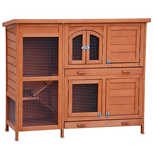 zooprinz Hasenstall Krümmel 2020 - ideal für draußen, auch im Winter für Deine Lieblinge perfekt - Besonders einfach und schnell zu reinigen - Kleintierstall mit umweltfreundlicher Farbe braun