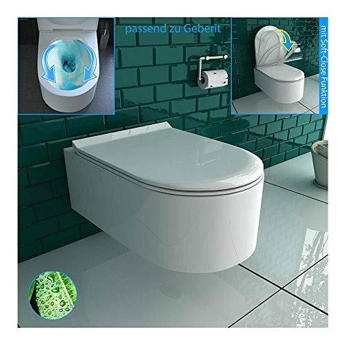 Alpenberger Rimless Hänge-WC aus robuster Keramik mit Befestigungselemente inkl. WC-Deckel mit Befestigungssatz | Spülrandloses Wand-WC Platzsparendes & Zeitloses Design | passend zu GEBERIT