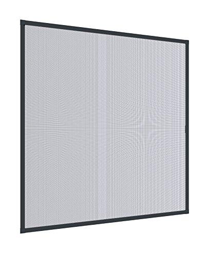 Windhager Insektenschutz Spannrahmenfenster Plus, Fliegengitter, Alurahmen für Fenster, individuell kürzbar, anthrazit 40 x 150 cm, 04329