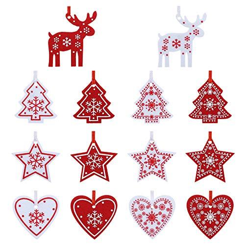 Naler 42-teilig Weihnachtsbaumschmuck Filzanhänger Deko-Anhänger Filz Christbaumschmuck in Rot & Weiß für Weihnachten Advent Geschenkanhänger Dekoration