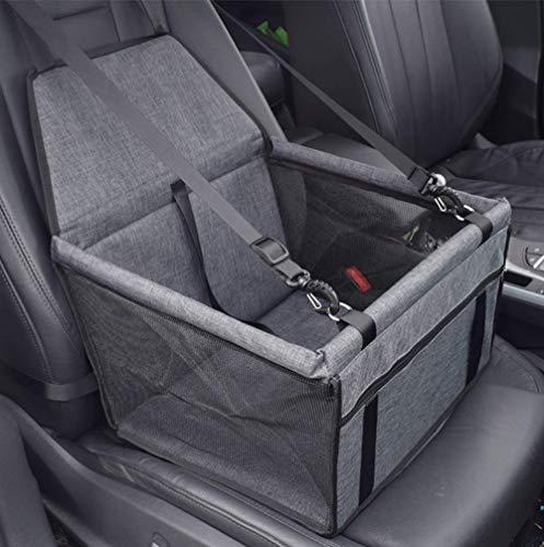 VORRINC Hunde Autositz für Hunde, Hundebox Auto Sitzerhöhung für Hunde,Wasserdicht Faltbar Atmungsaktiv Haustier Sicherheit für Reise,Kleine Hunde oder Katzen (Grey)