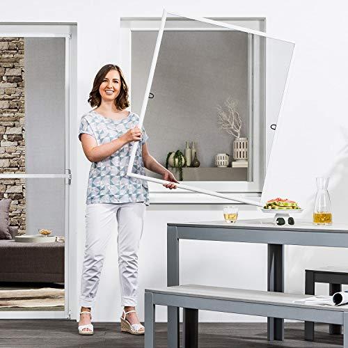 empasa Insektenschutz Fliegengitter Fenster START Fliegenschutz Alurahmen Mückengitter in weiß, braun oder anthrazit als Selbstbausatz