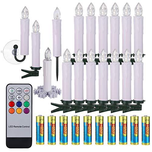40/30/20/10x Set LED Kerzen Weihnachtskerzen RGB&Warmweiß mit Batterien Fernbedienung Timer IP64 Wasserdicht inkl. Klammer Saugnapf Steckdrne für Auß-Innen