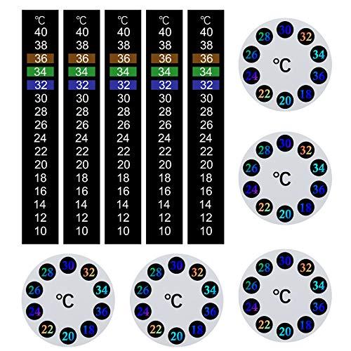 10-teiliges Thermometer-Set, selbstklebend, Farbwechsel, digitales Thermometerband, rund, sofortige Ablesung, Temperaturaufkleber für Aquarien (Grad Celsius)