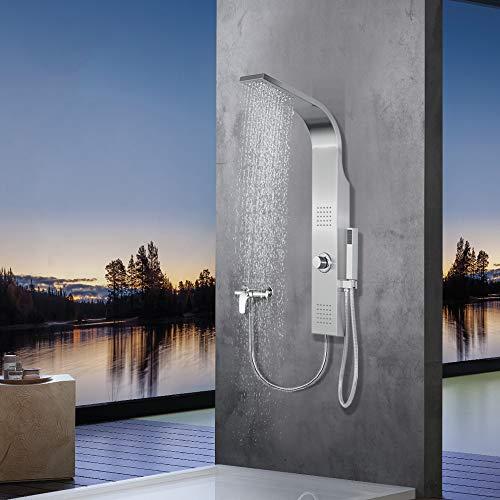 Elbe Duschpaneel ohne Armatur mit 3 Funktionen, Duschsystem aus gebürstetes Edelstahl 304, mit 2 x Massagedüsen, Regendusche und Handbrause