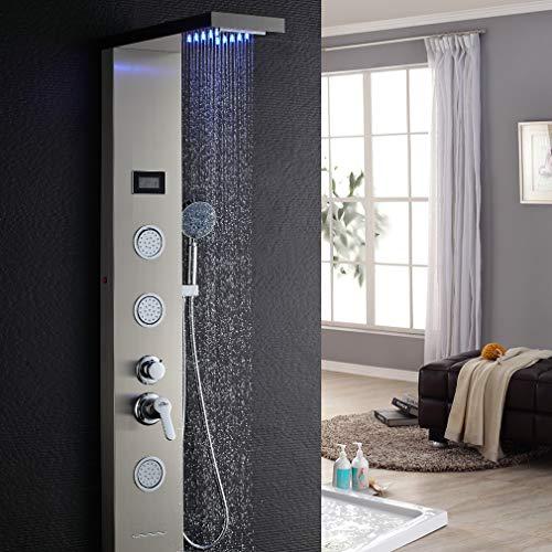 Auralum Edelstahl Duschpaneel LED Temperatur Bildschirm mit Handbrause Massagedüsen, Wasserfall und Niederschlag LED Duschkopf
