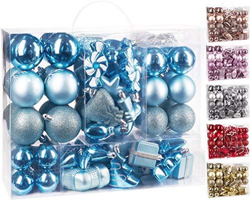 Brubaker 77-teiliges Set Weihnachtskugeln Christbaumschmuck - Kunststoff Hellblau/Silber