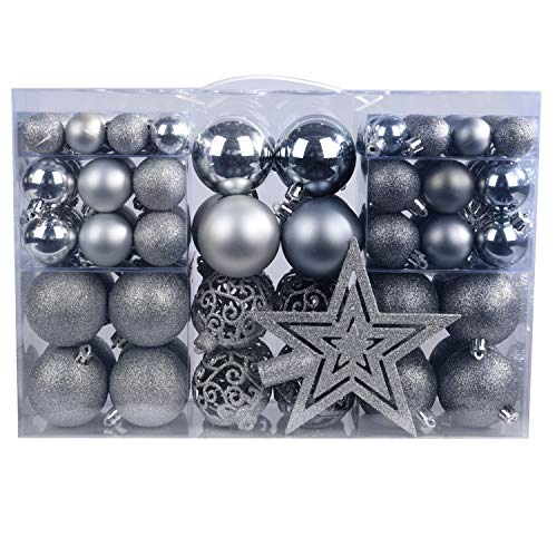 YILEEY Weihnachtskugeln Weihnachtsdeko Set Silber und Grau 101 STK in 9 Farben, Kunststoff Weihnachtsbaumkugeln Box mit Aufhänger Christbaumkugeln Plastik Bruchsicher, Weihnachtsbaumschmuck, MEHRWEG