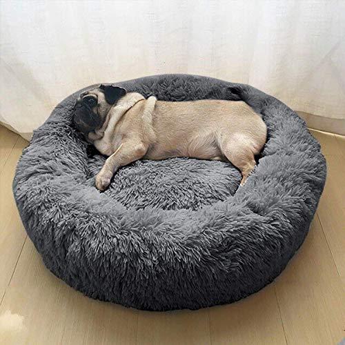 Wuudi Haustierbett 50 cm Hundebett Katzenbett Rund Weich und Weich für Haustiere/Welpen/Haustier/Katzenbett in Doughnut-Form Hellgrau
