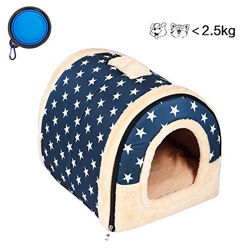 ENKO Hundebetten / Hundehütte / Katzenhöhle / Katzenhaus, Hohe Qualität Indoor Portable Faltbare Hund Zimmer Katzenhöhlen. (S, BLUE)