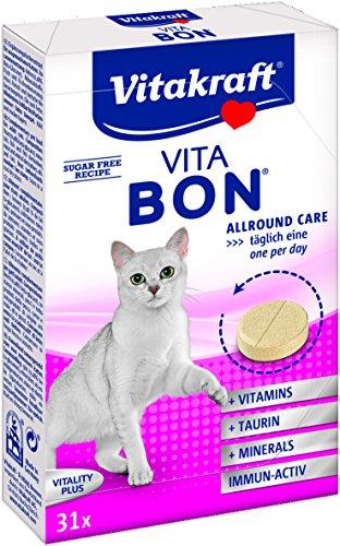 Vitakraft Vita Bon, Nahrungsergänzungsmittel für Katzen, 1er Packung (1 x 31 Tabletten)
