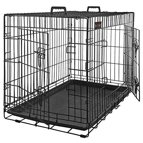 FEANDREA HundeKäfig 2 Türen Hundebox Gitterbox Transportbox faltbar DrahtKäfig Katzen Hasen Nager Kaninchen Geflügel Käfig schwarz XXXL 122 x 81 x 76 cm PPD48H