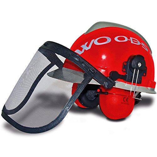 Forsthelm WOODSafe® Rot/Grau inklusive Gehörschutz, Klappvisier, Nackenschutz - Schutzhelm für Waldarbeiter nach EN 397