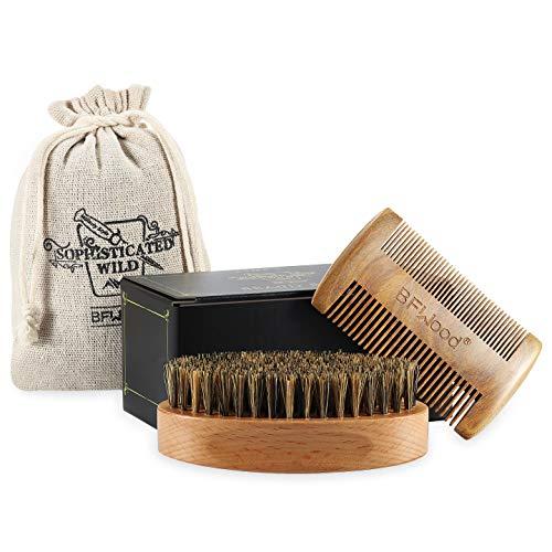 BFWood Bartbürste mit Wildschweinborsten und Comb Set - Military Design