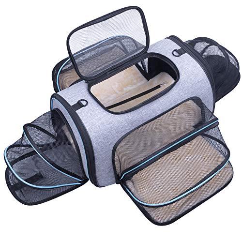 Erweiterbare Transporttasche Katze, Welpen, Öffnung an 4 Seiten, erweiterbar, Flugzeug-genehmigt, reisefreundlich, faltbar, weiches Fleece-Bett für Haustiere, Transportbox, sicher und bequem