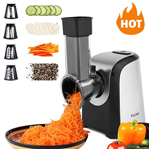 Elektrischer Gemüsehobel, Elektrisch Schnitzelwerk, Multifunktionsreibe, Gemüse Raspel, 150 Watt, Trommeln aus Edelstahl, 4 Kegel-Klingen
