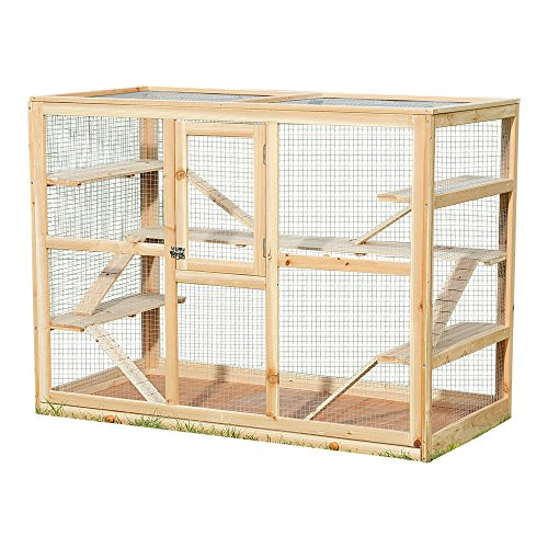 Melko Kleintierkäfig aus Holz, 120 x 60 x 90 cm, inklusive 6 Rampen,Nagervilla Hamsterkäfig Mäusekäfig