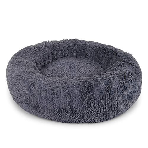 dibea Hundebett rund Hundekissen Hundesofa Katzenbett Donut Ø 60 cm Außendurchmesser (L) dunkelgrau