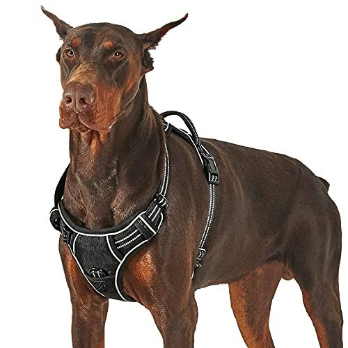 Lesure Hunde Geschirr verstellbar Brustgeschirr - Anti Zug Hundegeschirr atmungsaktiv Welpengeschirr No Pull Sicherheitsgeschirr für mittelgroße Hunde, Schwarz, L